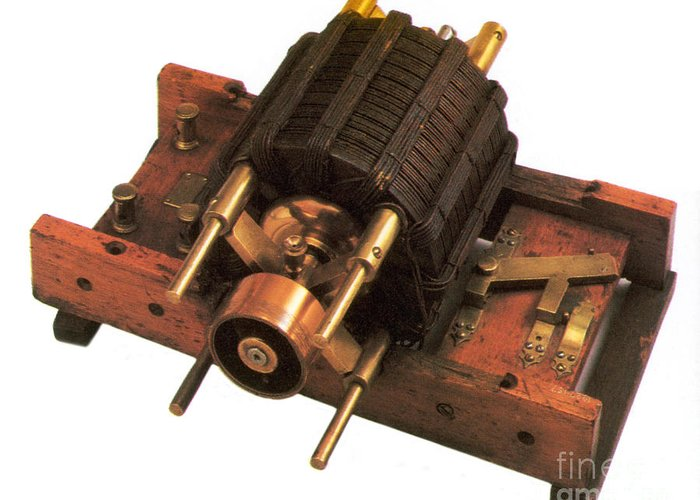 History Greeting Card featuring the photograph Induction Motor by Photo Researchers