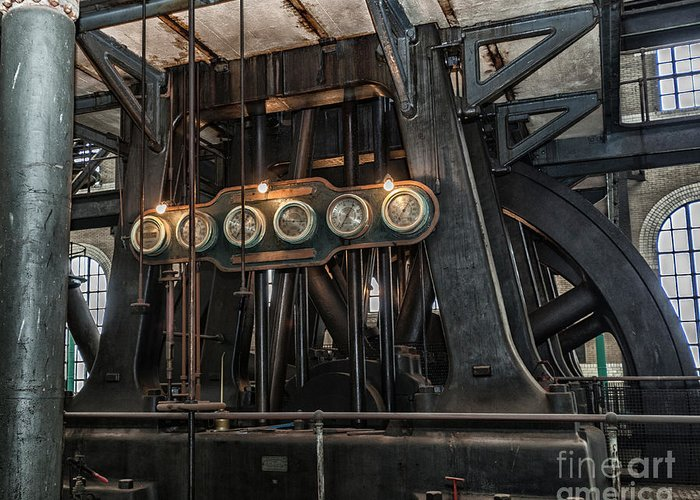Steampunk Art Greeting Card featuring the photograph Gauges by Phil Pantano