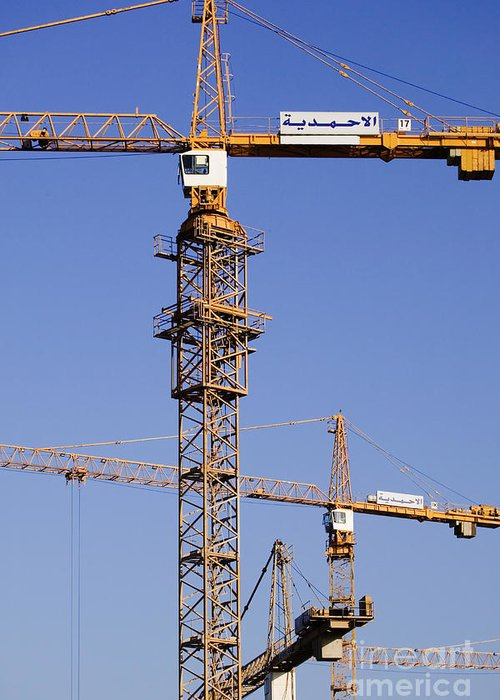 Blue Skies Greeting Card featuring the photograph Industrial Cranes by Jeremy Woodhouse