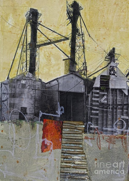 Collage Greeting Card featuring the mixed media Industrial Landscape 1 by Elena Nosyreva