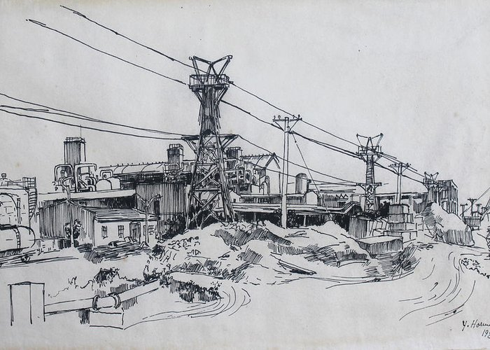Industrial Drawings Greeting Cards