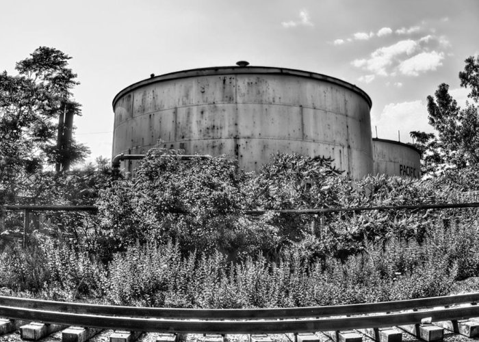 Railroad Greeting Card featuring the photograph Industrial Tank In Black And White by Tammy Wetzel
