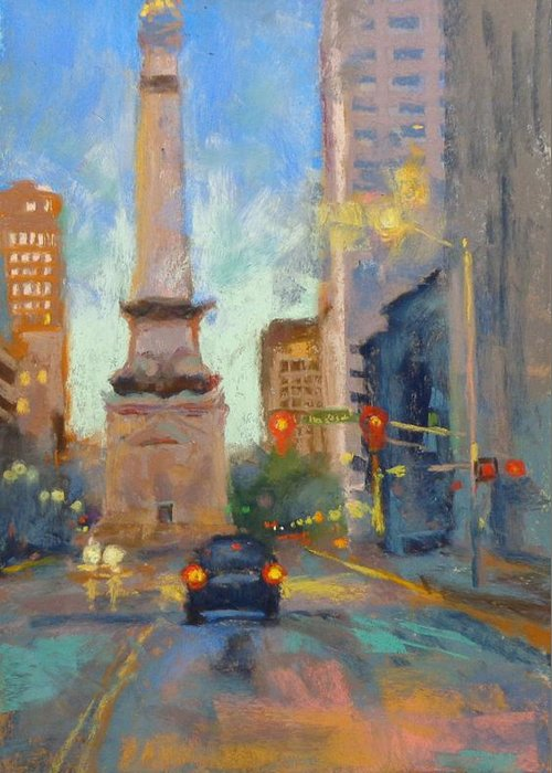 City Scape Greeting Card featuring the painting Indy Monument At Twilight by Donna Shortt