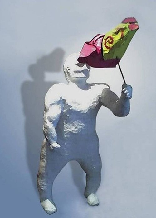 Enano Greeting Card featuring the sculpture infidelity Infidelidad by Fernando A Hernandez