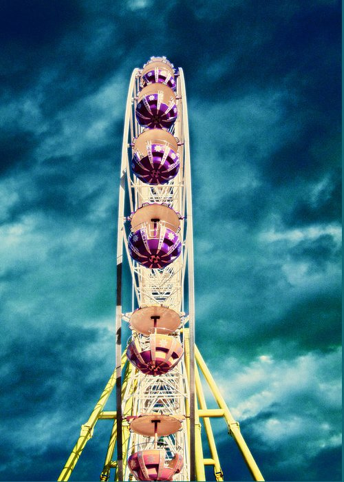 Activity Greeting Card featuring the photograph infrared Ferris wheel by Stelios Kleanthous