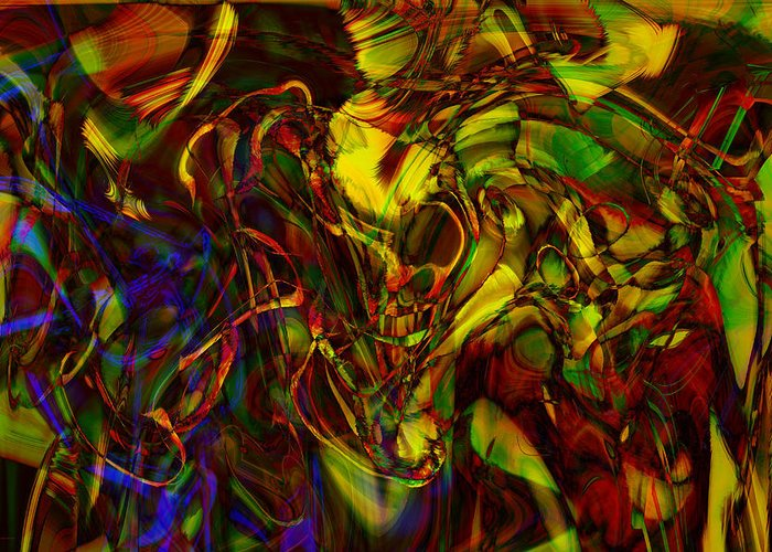 Abstract Greeting Card featuring the digital art Injections by Linda Sannuti