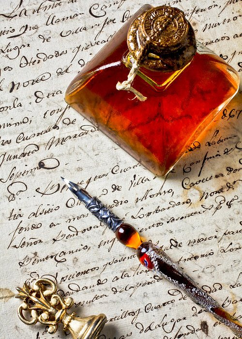 Ink Bottle Pen Old Letter Greeting Card featuring the photograph Ink Bottle And Pen by Garry Gay