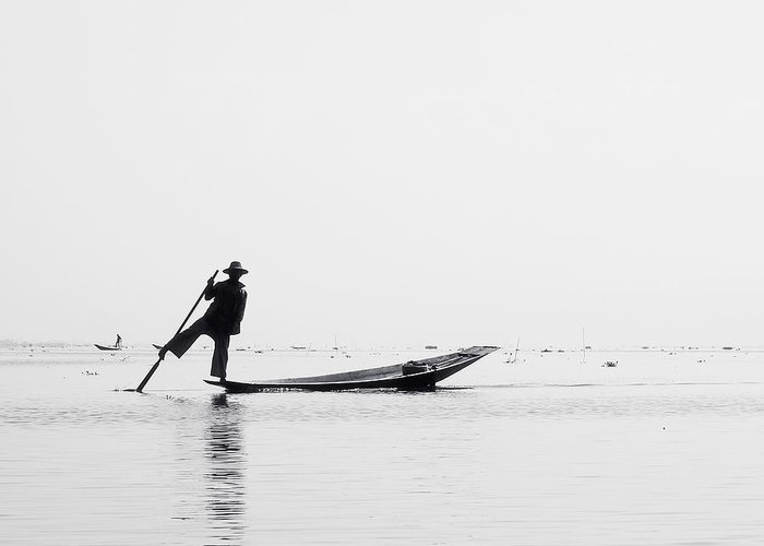 Birma Greeting Card featuring the photograph Inle Fisher by Nina Papiorek