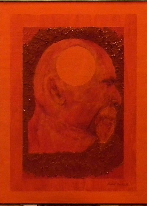 Self Portrait Greeting Card featuring the painting Inner Space Or The Dot Within by Gilbert Bernhardt