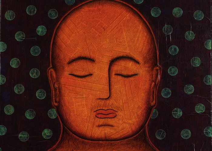 Buddha Greeting Card featuring the painting Inner Visions by Gloria Rothrock