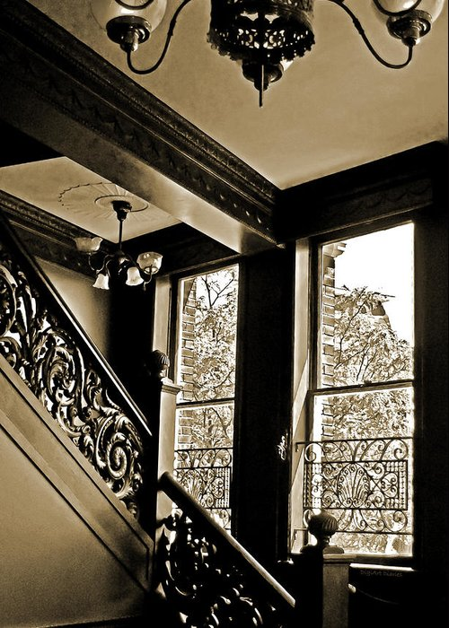 Stairway Greeting Card featuring the photograph Interior Elegance Lost In Time by DigiArt Diaries by Vicky B Fuller