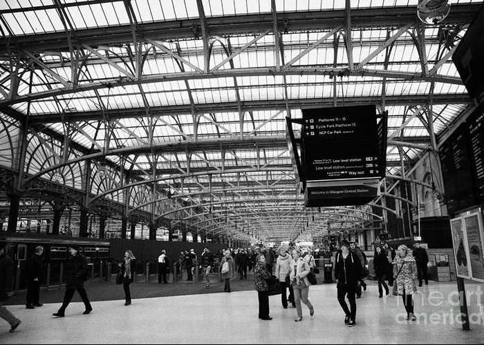 Interior Greeting Card featuring the photograph interior of central station Glasgow Scotland UK by Joe Fox
