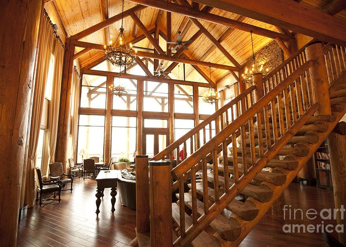 Architectural Detail Greeting Card featuring the photograph Interior Of Large Wooden Lodge by Will and Deni McIntyre