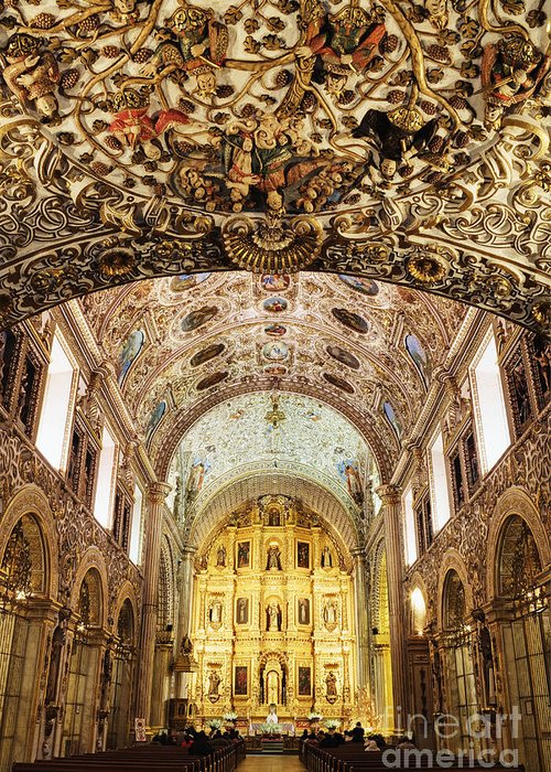 Arch Greeting Card featuring the photograph Interior Of The Church Of Santo Domingo by Jeremy Woodhouse