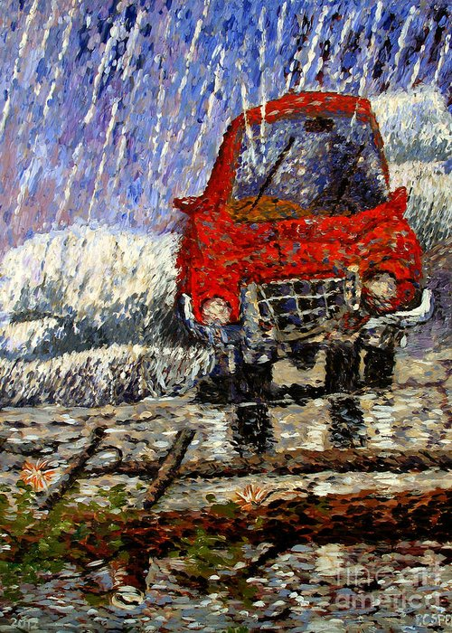 Thunderstorm Greeting Card featuring the painting Into The Epochal Storm by Charlie Spear