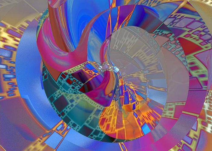 Abstract Greeting Card featuring the digital art Into The Inner World by Deborah Benoit