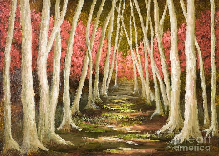 Woods Greeting Card featuring the painting Into The Woods-series With Gold Leaf By Vic Mastis by Vic Mastis