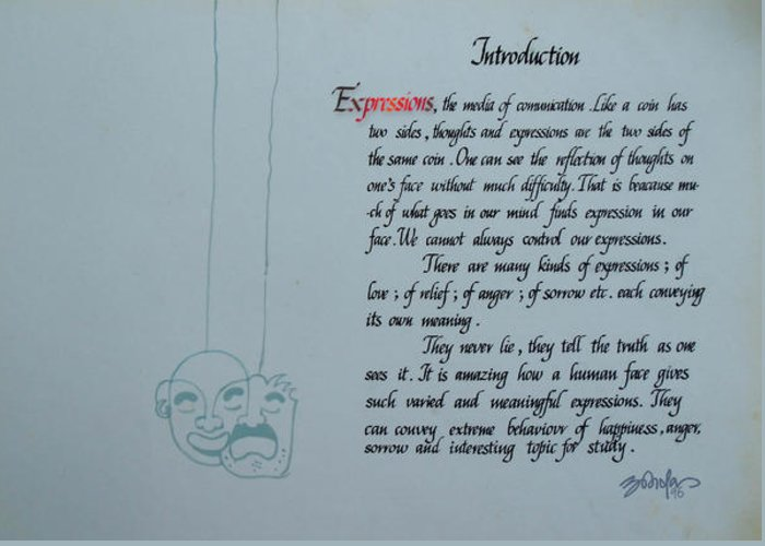 Calligraphy Greeting Card featuring the painting Introduction Of Expressions by Abhishek Sharma