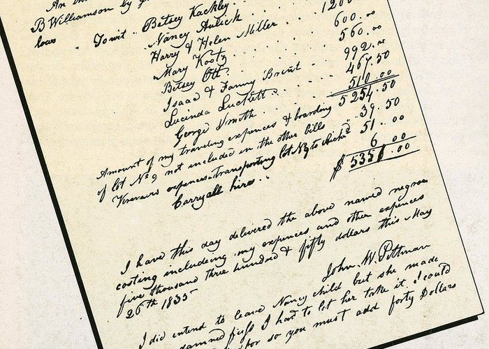 Slavery Greeting Card featuring the photograph Invoice Of A Sale Of Black Slaves by Photo Researchers