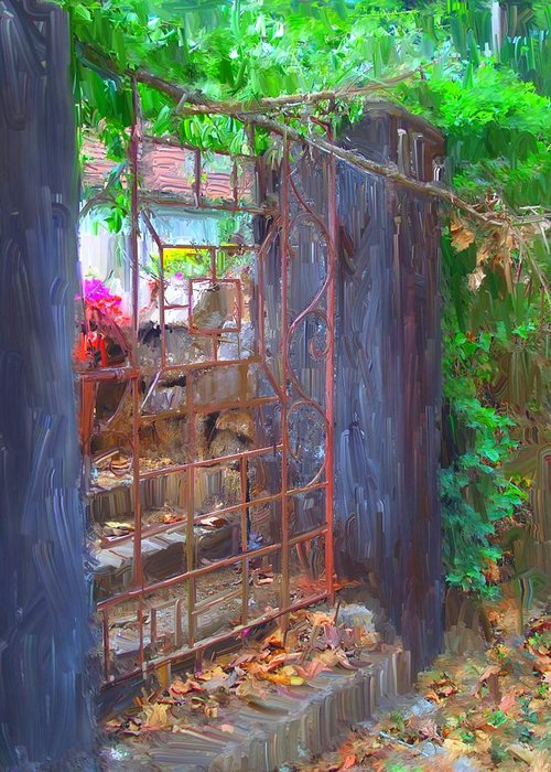 Gate Greeting Card featuring the painting Iron Gate by Usha Shantharam