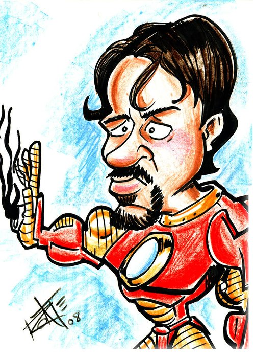 Big Mike Roate Greeting Card featuring the drawing Ironman by Big Mike Roate