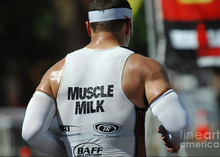 Ironman Greeting Card featuring the photograph Ironman Muscle Milk by Bob Christopher
