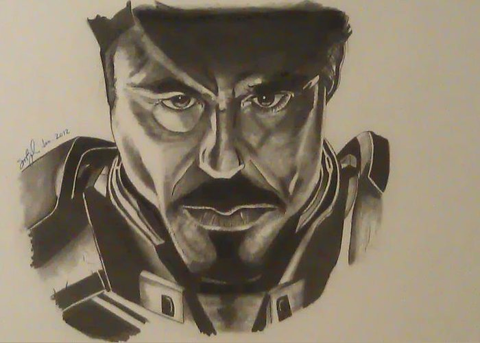 Pencil Drawing Greeting Card featuring the drawing Ironman by Shawn Brooks