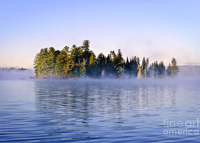 Island Greeting Card featuring the photograph Island In Lake With Morning Fog by Elena Elisseeva