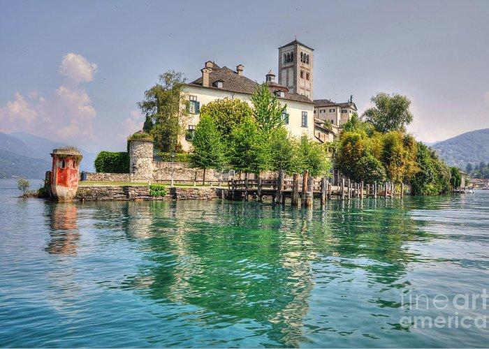 Island Of San Giulio Greeting Card featuring the photograph Island San Giulio by Mats Silvan