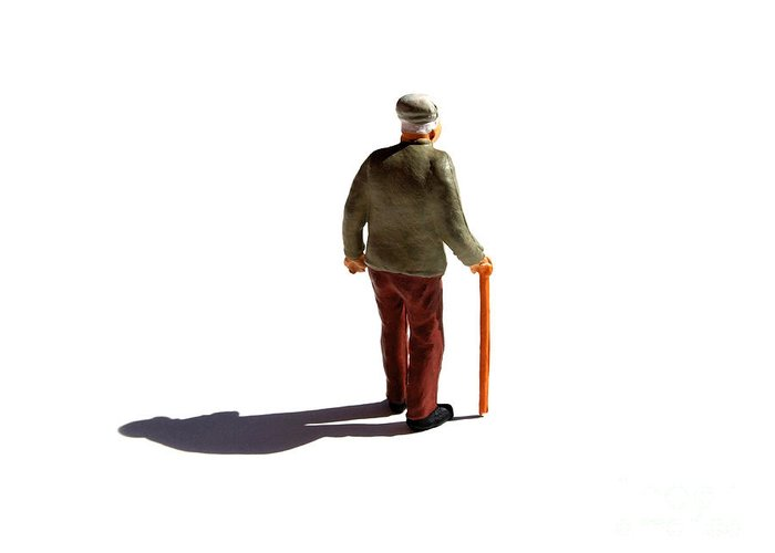 Aging Process Greeting Card featuring the photograph Isolated Old Man. by Bernard Jaubert