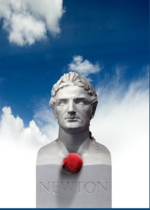 Isaac Newton Greeting Card featuring the photograph Issac Newton And The Apple, Artwork by Victor Habbick Visions