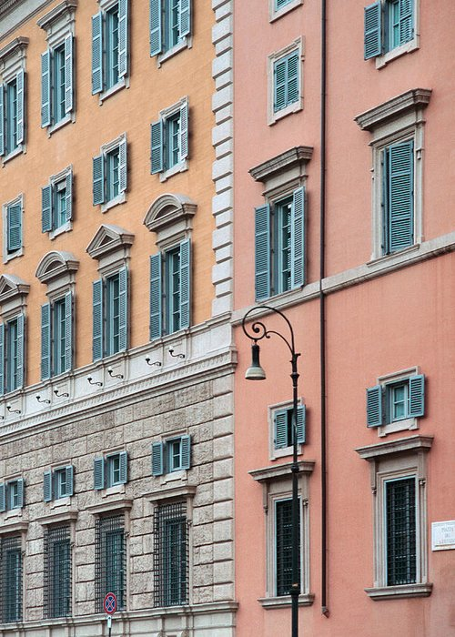 Rome Greeting Card featuring the photograph Italian Facade by Mark Greenberg