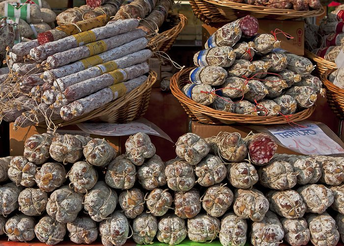 Salami Greeting Card featuring the photograph Italian Market by Joana Kruse