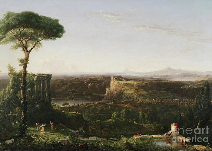 Italianate; Landscape; Classical; Ruin; Ruins; Archeological; Countryside; Rural; Roman; Umbrella Pine Tree; Cypress Trees; Rustic; Figure; Figures; Dance; Dancer; Dancers; Dancing; Utopian; Hudson River School; Cole Greeting Card featuring the painting Italian Scene Composition by Thomas Cole