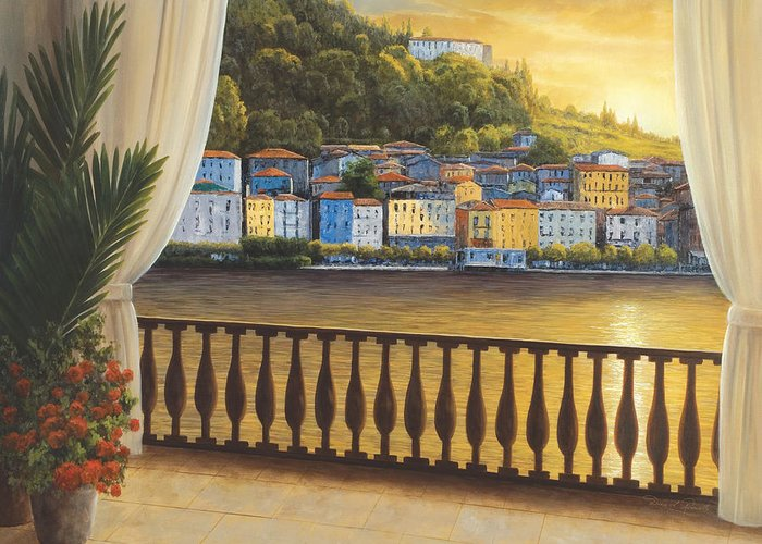 Tuscany Paintings Greeting Card featuring the painting Italian View by Diane Romanello