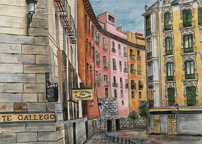 Landscape Greeting Card featuring the painting Italian Village 2 by Debbie DeWitt