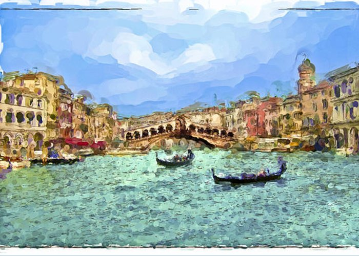 Landscapes Greeting Card featuring the painting Italy - Venice by Franck Guarinos