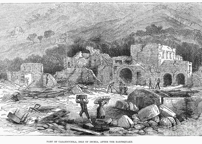 1881 Greeting Card featuring the photograph Italy: Earthquake, 1881 by Granger