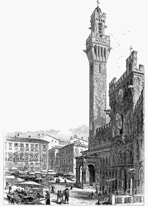 19th Century Greeting Card featuring the photograph Italy: Siena, 19th Century by Granger