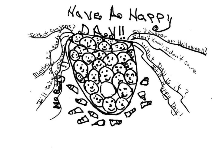 Humorous Comic Image Drawing Greeting Card featuring the drawing It's Happy Day by Thelma Harcum