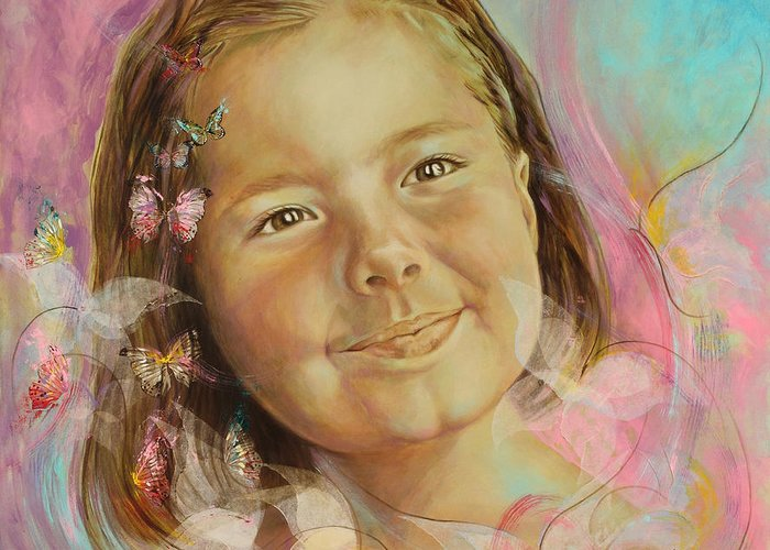 Portrait Greeting Card featuring the painting Ivana's Portrait by Karina Llergo