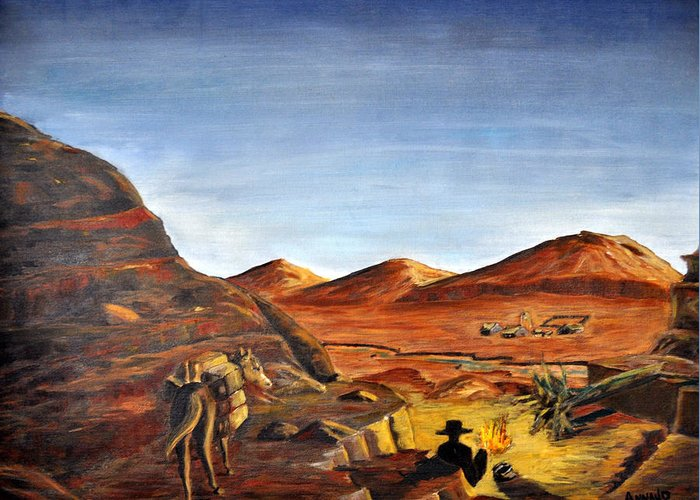 Desert Greeting Card featuring the painting Jackass Flats by AnnaJo Vahle