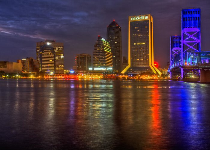 Clouds Greeting Card featuring the photograph Jacksonville At Night by Debra and Dave Vanderlaan