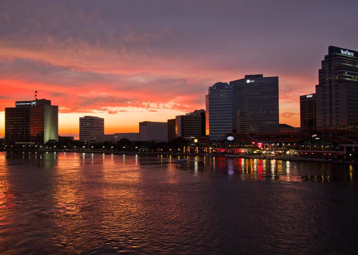 Clouds Greeting Card featuring the photograph Jacksonville Skyline Night by Debra and Dave Vanderlaan