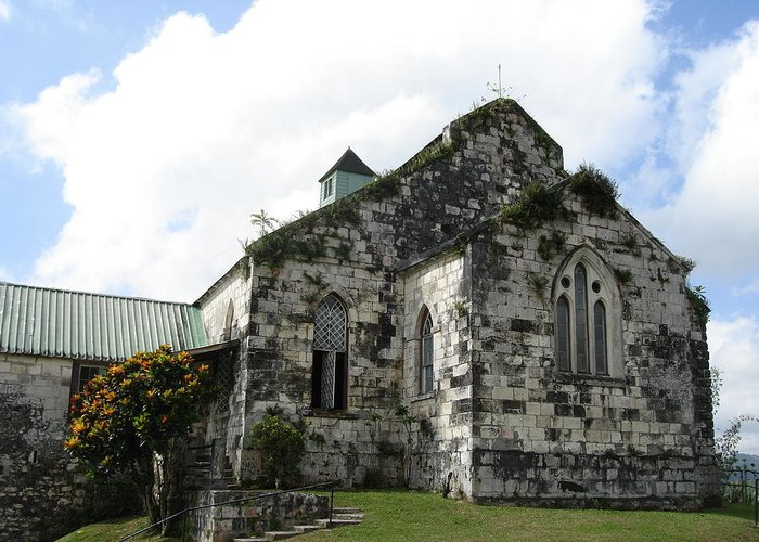 Ancient Church Greeting Card featuring the digital art Jamaican Church by Bryan Ramsey
