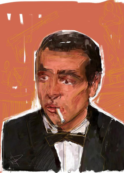 James Bond Greeting Card featuring the mixed media James Bond by Russell Pierce