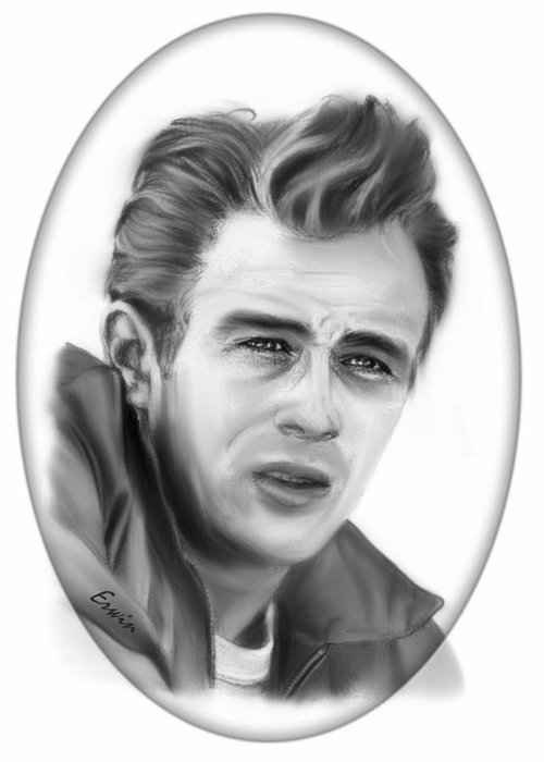 James Dean Greeting Card featuring the drawing James Dean by Erwin Verhoeven