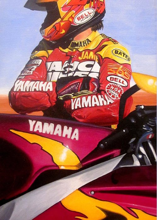 Jamie James Greeting Card featuring the painting Jamie James - Yamaha Yzf by Jeff Taylor