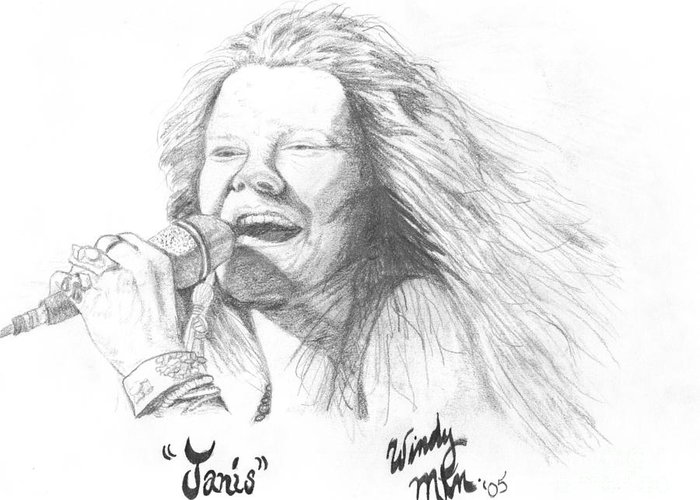 Janis Greeting Card featuring the painting Janis by Windy Mountain