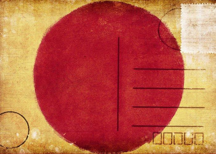 Address Greeting Card featuring the photograph Japan Flag Postcard by Setsiri Silapasuwanchai